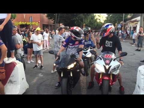Moto Gp 2017, Fiesta en Montmelo Stunts y burnouts por las calles del pueblo