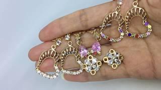 Anting Panjang Lapis Emas 18k Batu Pink Teardrop Elegan Mewah - BE097