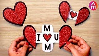 Mothers Day Special Card | Beautiful Handmade Heart Shape Greeting Cards Idea |  Artsy Madhu 51