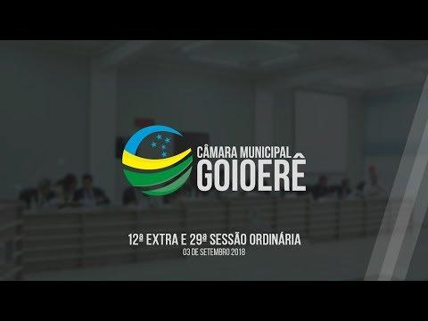 12ª Sessão Extraordinária e 29ª Sessão Ordinária 2018