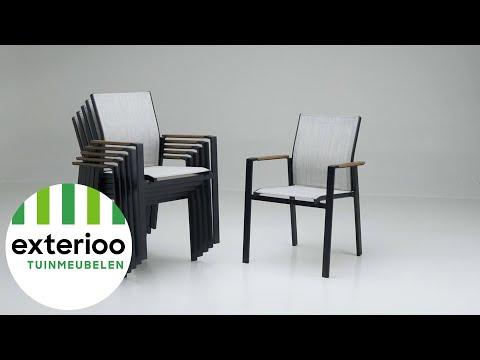Bahia stapelstoel zwart-grijs - aluminium en single textileen- stapelbaar