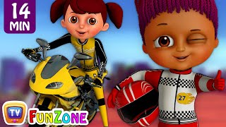 Learn Colours & Shapes in Bike Race & Surprise Eggs Bikes Toys - ChuChu TV Funzone 3D Motorsports