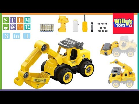 Take Apart Toys Remote Truck STEM Educational Construction Excavator Steam Roller TOY REVIEW