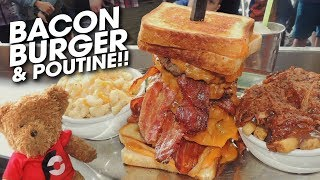 Canadian Bacon Cheeseburger Challenge w/ Pulled Pork Poutine!!