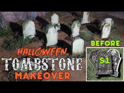 Halloween Foam Tombstone Makeover | Easy Halloween Decoration Ideas (DIY)