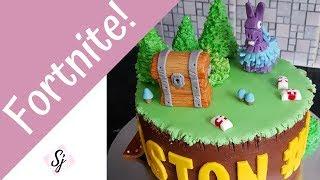 FORTNITE CAKE TUTORIAL!! Including, fondant llama & chest!!