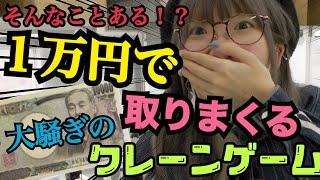 【大騒ぎ】まあたそが1万円でクレーンゲームに挑戦!やりたい放題で大量ゲット!!【爆笑】