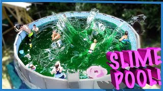 😎SWIMMING IN A FAMILY SIZE POOL OF SLIME! 🤢