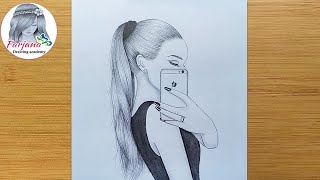 How To Draw A Girl Taking A Selfie -step By Step || A Girl With Ponytail Hairstyle -Pencil Sketch
