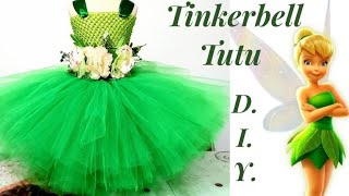 DIY No Sew Tutu Dress For Baby Girls, Tinker Bell Inspired Costume / How To Make A Tulle Tutu Dress