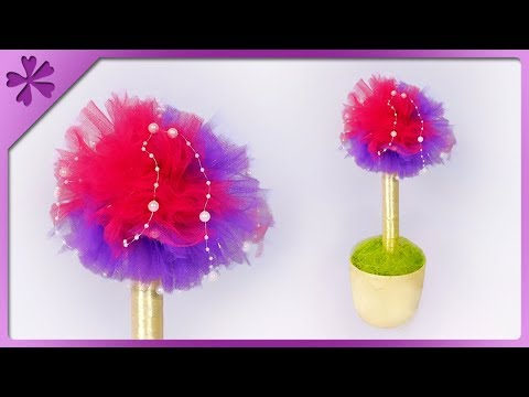DIY Tulle pom pom tree + how to make big pom pom (ENG Subtitles) - Speed up #564