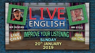 LEARN ENGLISH LIVE   20th January 2019   Sleep Words And Phrases   Mr Steve In Bed   Mr Duncan