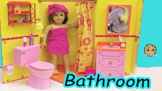 American Girl Doll Room - Shower,  Brush Teeth, Surprise Blind Bags Toy Video