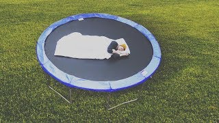 I Spent the Night on a Trampoline & It Didn't Go as Planned (Sleep on a Trampoline Challenge)