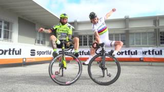 Sagan and Brumotti at Sportful   30 Oct 2015