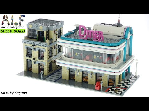 LEGO Creator 10260 Downtown Diner Chicago MOC by dagupa - Lego Speed Build Review
