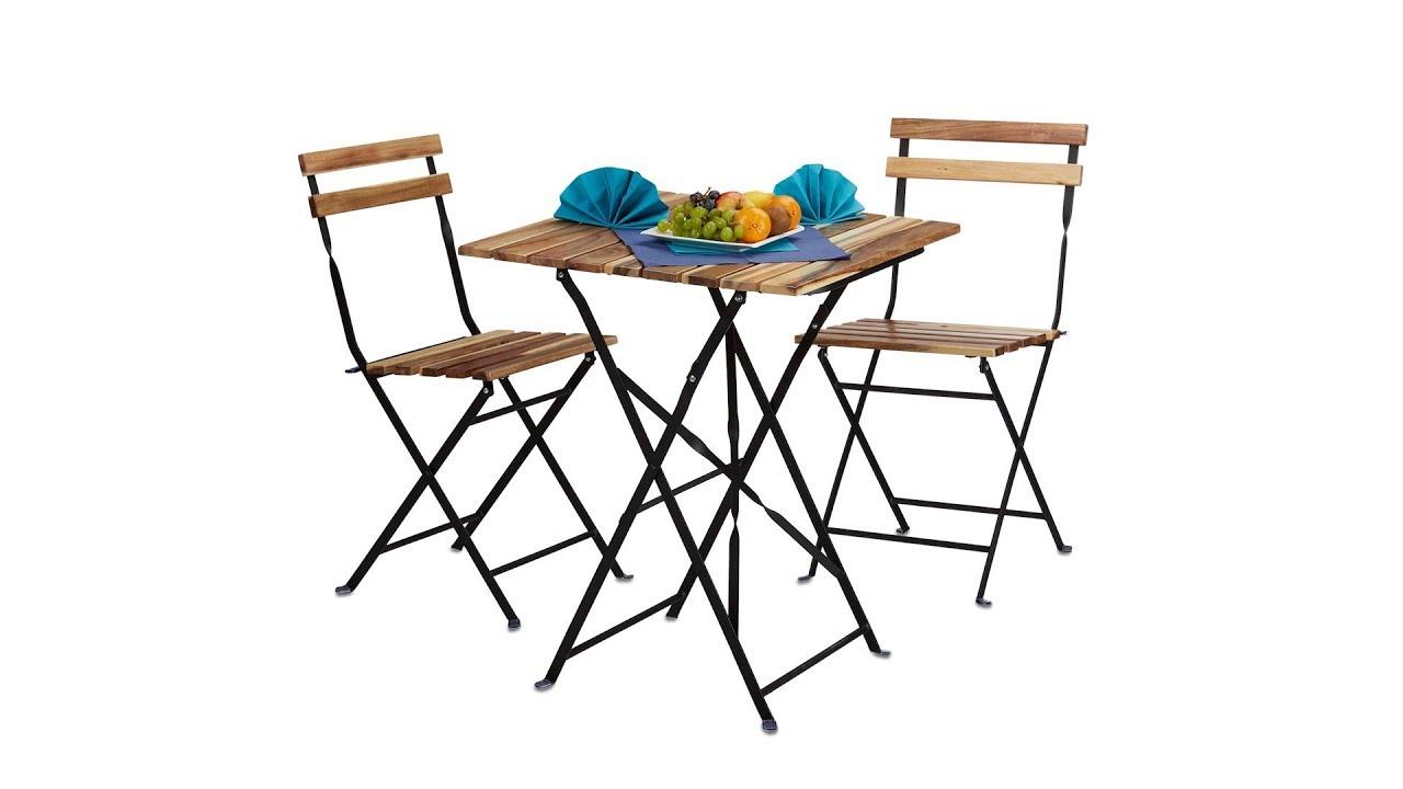 Gartenmöbel Set 3-teilig aus Holz und Metall kaufen | relaxdays.de