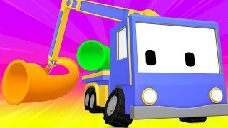 Tiny Trucks - Waterpark - Kids Animation with Street Vehicles Bulldozer, Excavator & Crane