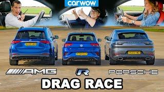 [carwow] AMG GLE 53 v Porsche Cayenne Coupe v VW T-Roc R - DRAG RACE *Mat v Mum v Girlfriend*