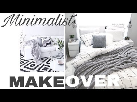 2017 SAME DAY FOOTAGE MINIMALIST BUDGET MAKEOVER | BEDROOM & LIVING ROOM