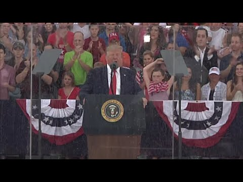"President Donald Trump celebrated America as ""the most exceptional nation in the history of the world"" in a Fourth of July commemoration before a soggy, cheering crowd of spectators. He spoke on the grounds of the Lincoln Memorial Thursday. (July 4)"