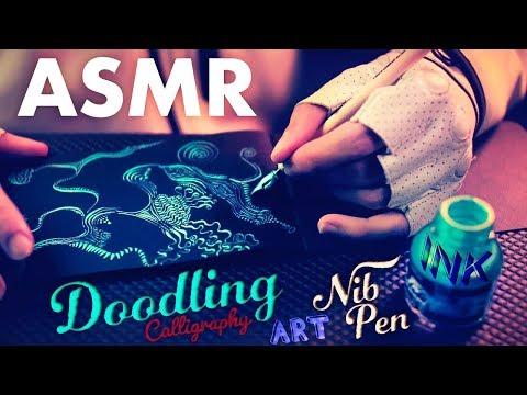 [ASMR] Ink Doodling with Scratching Calligraphy Nib Pen - NO TALKING
