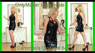 OnlyMaker Black Peep Toe Platform High Heel Pumps And Black Latex Dress  Cammiles Closet #64