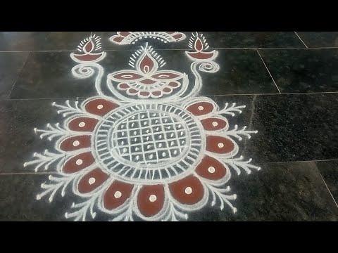 easy muggulu rangoli design for kathigai month
