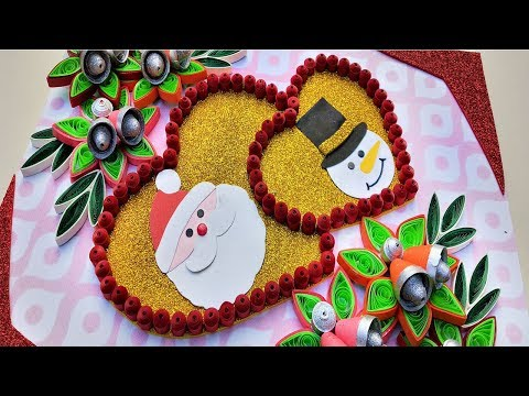 Christmas Card | Beautiful Double Heart Design Christmas Special Greeting Card | Paper Quilling Art