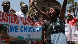 Teachers from Mandera stage protest to Parliament