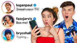 DMing 100 Youtubers From My GIRLFRIENDS Account.. (they reply)
