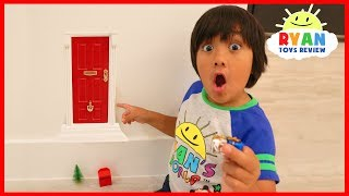 Ryan Found A Secret Door to the North Pole Pretend Play fun for Christmas! It's an elf door with Presents if Ryan can find the key with clues!