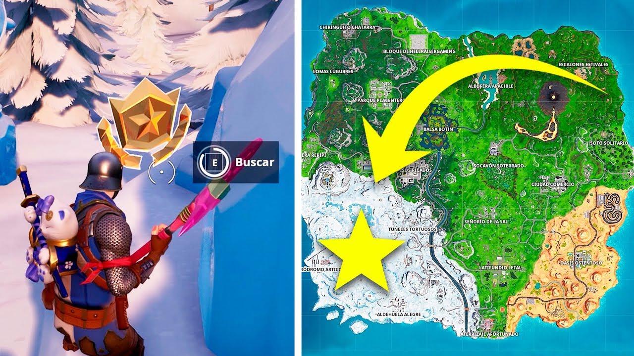 desafio fortnite busca donde marca la lupa en el mapa del tesoro solucion - busca donde apunta el cuchillo en la pantalla de carga fortnite