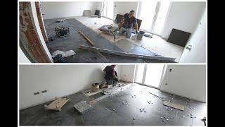 NEUE Baustelle , Fliesen verlegen  ( Wohnzimmer Boden Fliesen verlegen ) ( video 4 )