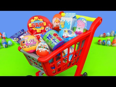 Surprise Eggs Unboxing: Shopping Cart with Fireman, Bear, LOL Toys & Blind Bags for Children