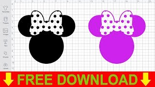 Disney SVG Free Minnie Head With Bow Cutting Files For Cricut Silhouette