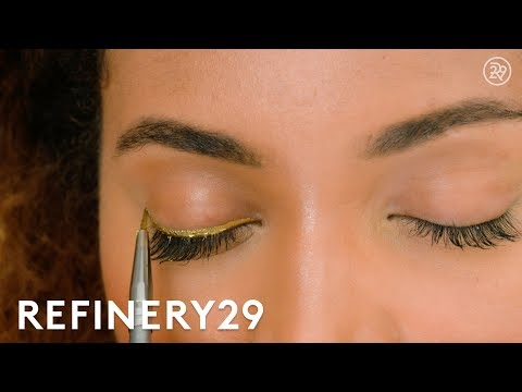 How To: Gold Eyeliner Makeup Trend  | Short Cuts | Refinery29