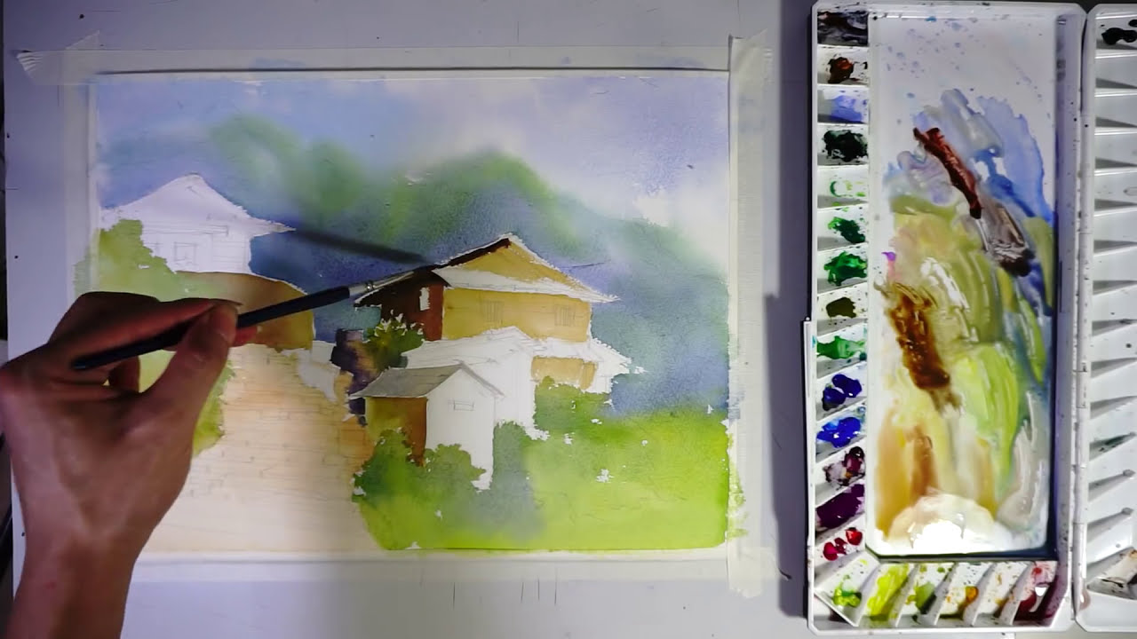 watercolor painting ghandruk village by art painting workshop
