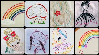 Super Easy Basic Hand  Embroidery Patterns For Kids Casual Frocks