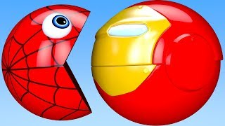 Learn Colors PACMAN and Spider Iron Man Farm Watermelon Tractor Surprise Toy for Kid Children
