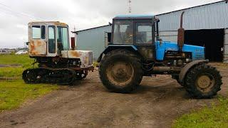 Буксируем на МТЗ-1221 трактор Т-70С и демонтируем с него кабину. (78-День 3-Сезона)