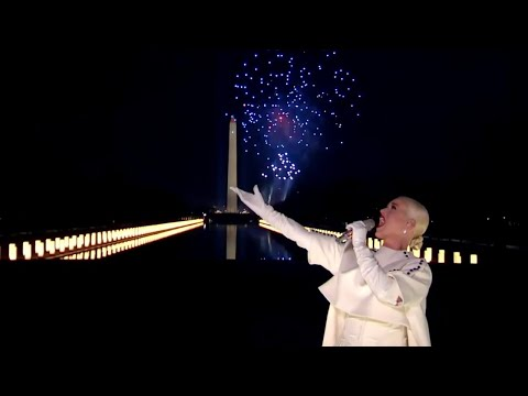 Katy Perry performs 'Fireworks' during the Biden inaugural celebration