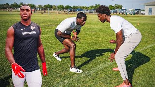 I TRIED GUARDING AN NFL WIDE RECEIVER DURING 1ON1'S!! (ANKLE WARNING)