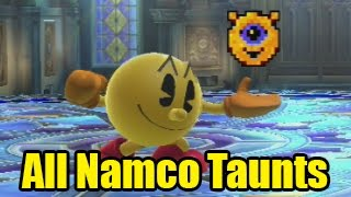 All Pacman's Namco Roulette Character Taunts in Super Smash Bros Wii U/3DS!