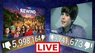 Youtube Rewind 2018 vs Justin Bieber Baby Live Count [60FPS]