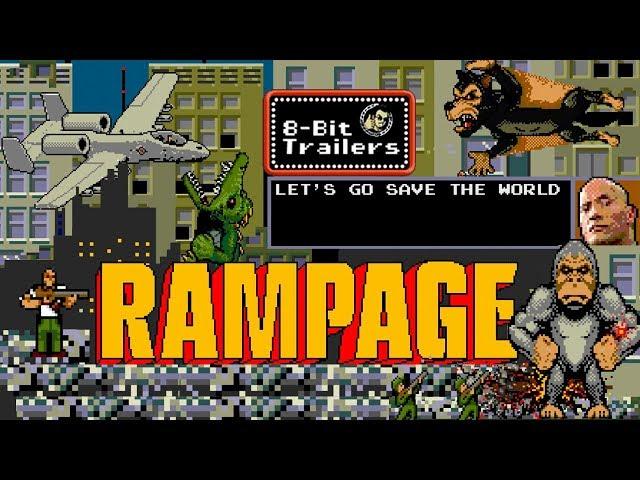 RAMPAGE (2018) 8-Bit Trailers, Dwayne Johnson monster