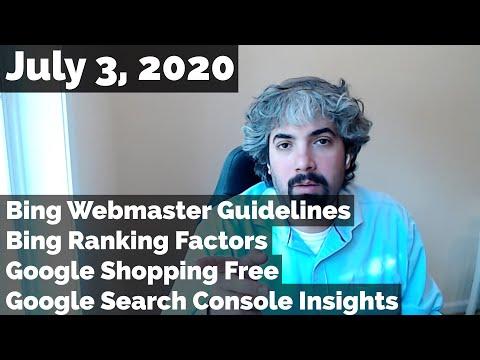 Diretrizes para webmasters do Bing e fatores de classificação, o Google Shopping é gratuito e informações do Search Console 1