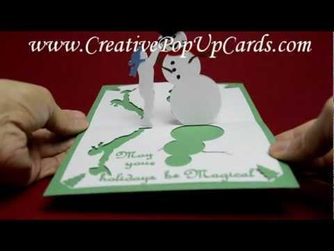 teddy bear pop up card template free - magical snowman pop up card template