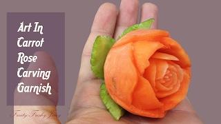 Hand-Carved Carrot Rose Flower - Fruit & Vegetable Carving Idea & Design