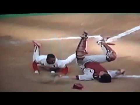 Ray Lankford Runs Over Darren Daulton To Win Game St. Louis Cardinals